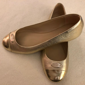COACH Gold Metallic Ashley Ballet Flats, Size 8